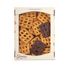 Печенье слоеное 600г «Джайв» частично глазированное шоколадной глазурью (фэмили пак)